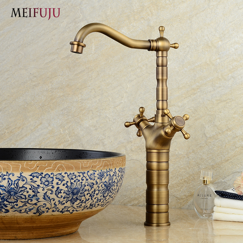 MEIFUJU Soild Brass Bronze Double Handle Antique Faucet Tap Basin Faucets Bathroom Basin Mixer Tap Hot&Cold Water Face Mixer Tap soild brass white painted bathroom tall basin faucet single handle dual control hot and cold water tap torneiras