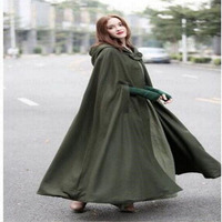 Womens Vintage Long Cape Cloak Hooded Wool Blend Coat Sleeveless Winter Poncho Cardigan Plus Size