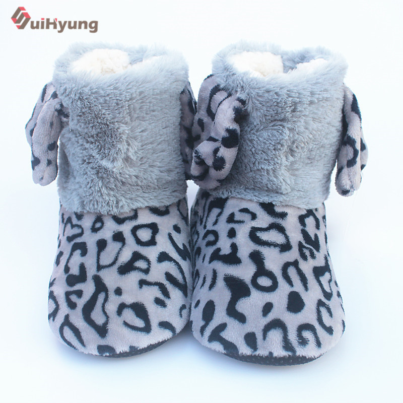 Suihyung Winter Warm Women Indoor Shoes Leopard Faxu Fur Home Slippers Plush Thermal Cotton Shoes Botas