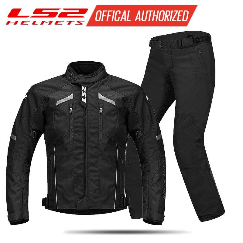 LS2 hommes Moto veste Moto pantalon ensemble printemps hiver respirant veste chaude Moto pantalon costume vêtements de protection