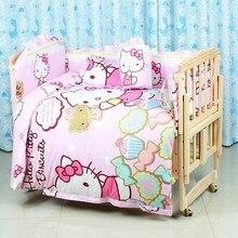 Promotion! 6PCS 100% Cotton Baby Girl Bedding Set,Crib Bed Set Crib Bumpers Baby Sheet ,unpick(3bumpers+matress+pillow+duvet)