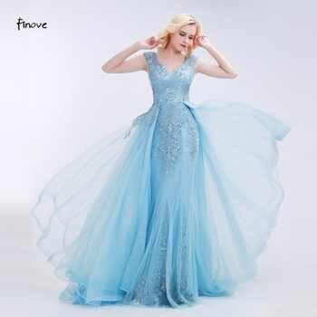 Finove Appliques Prom Dresses 2019 New Styles Elegant Tulle Beading V-Neck Sleeveless Floor-Length Evening Gowns for Party