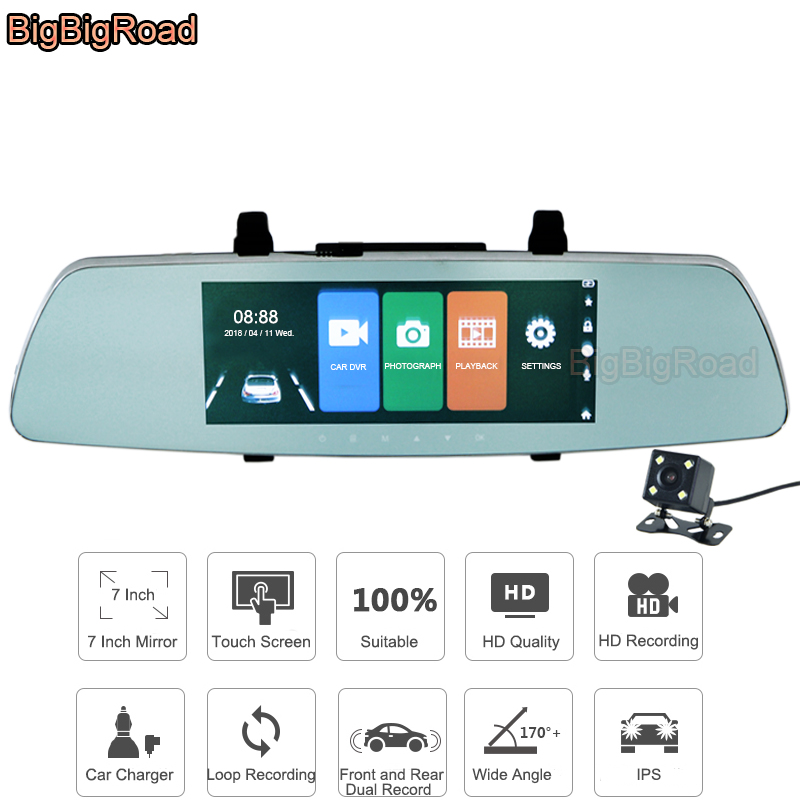 BigBigRoad 7 Inch Touch Screen RearView Mirror Car DVR Video Recorder Dash Cam For Benz Smart S350 GLA CLK SLK GLS GLE SLC GLK bigbigroad for chevrolet orlando car rearview mirror dvr video recorder dual cameras novatek 96655 5 inch ips screen dash cam