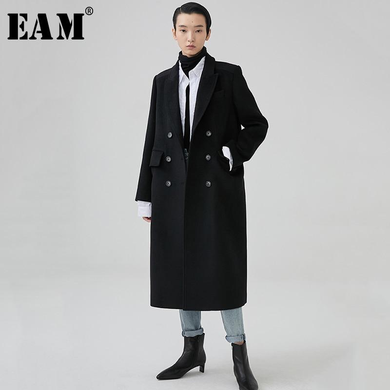 Black eam Manteau De Longues Printemps Marée 2019 Femmes Bref À Double Laine Lâche Nouveau Long Ji864 Manches Noir Revers Mode Boutonnage fwRf6aqr