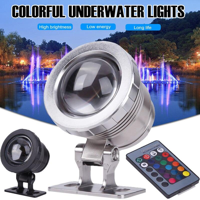 Energy Saving Underwater Light RGB Remote Control AC85-265V 16 Colors 10W Waterproof Garden Pond Tank Fountain Light Home