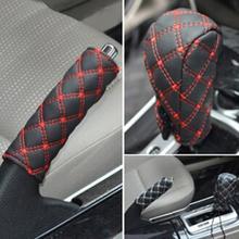 2 в 1 набор автомобиля Искусственная кожа чехол для рычага переключения передач для стояночного тормоза крышка рукав интерьер автомобиля защитную крышку