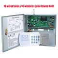 O Envio gratuito de Painel de Controle de Alarme de 16 Zonas Com Fio e 16 Sem Fio anfitrião do Alarme da segurança home sem fio e com fio