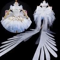Аниме Card Captor четкие карты Kinomoto Сакура Косплэй костюм лед Ангел белое платье Лолита Платье для косплея Для женщин костюм для Хэллоуина