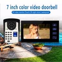7 дюймов сенсорный экран цветной видео звонок система умный дом с подкладкой аудио отпечатков пальцев разблокировать 2,4 г цифровой беспрово
