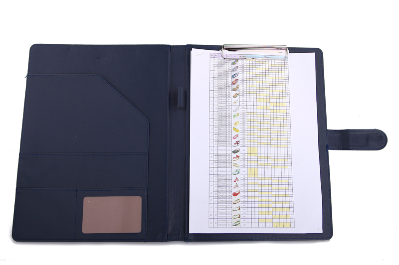 QSHOIC Business stationery high-grade A4 leather folder, PU multifunctional contract signing clip clip folder manager folder qshoic a4 multi function business manager clip to high grade leather with calculator folder file pu leather document folder