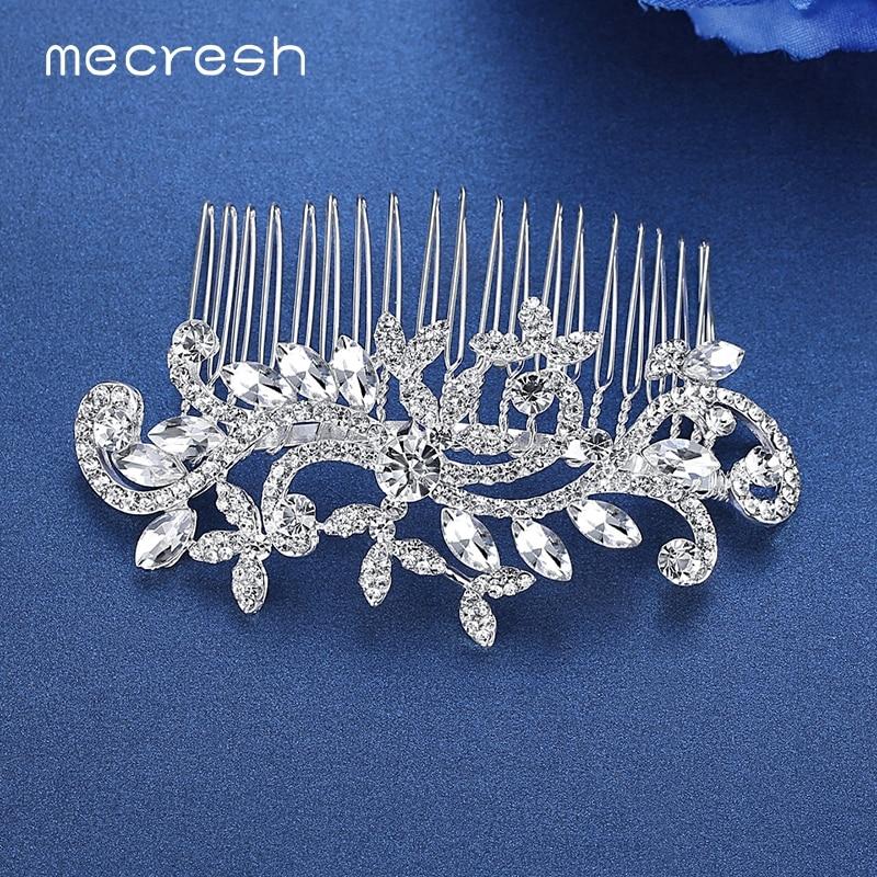 Mecresh Kryształowe ślubne akcesoria do włosów dla kobiet Srebrny - Modna biżuteria - Zdjęcie 3