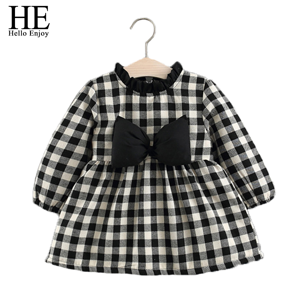 HE Hello Enjoy Red Baby Dress Gowns Toddler Girl Clothing Long sleeve Plaid Bow 1st Birthday Princess Dress Kid Girl Clothes