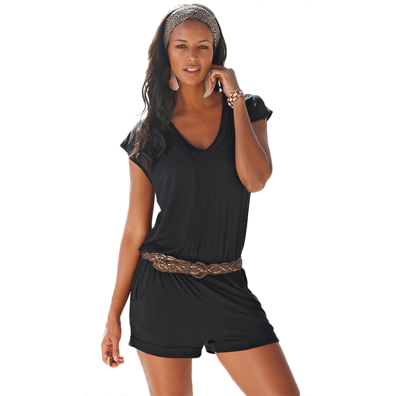 2020 Europe and America women jumpsuits summer new deep V neck sleeveless sexy beach clothing elastic waist playsuits 9199