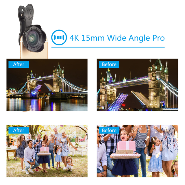 APEXEL Professional Optic Phone camera lends kit 15mm 4K Wide angle lens no distortion for iPhoneX 8 plus HTC more smartphone 4