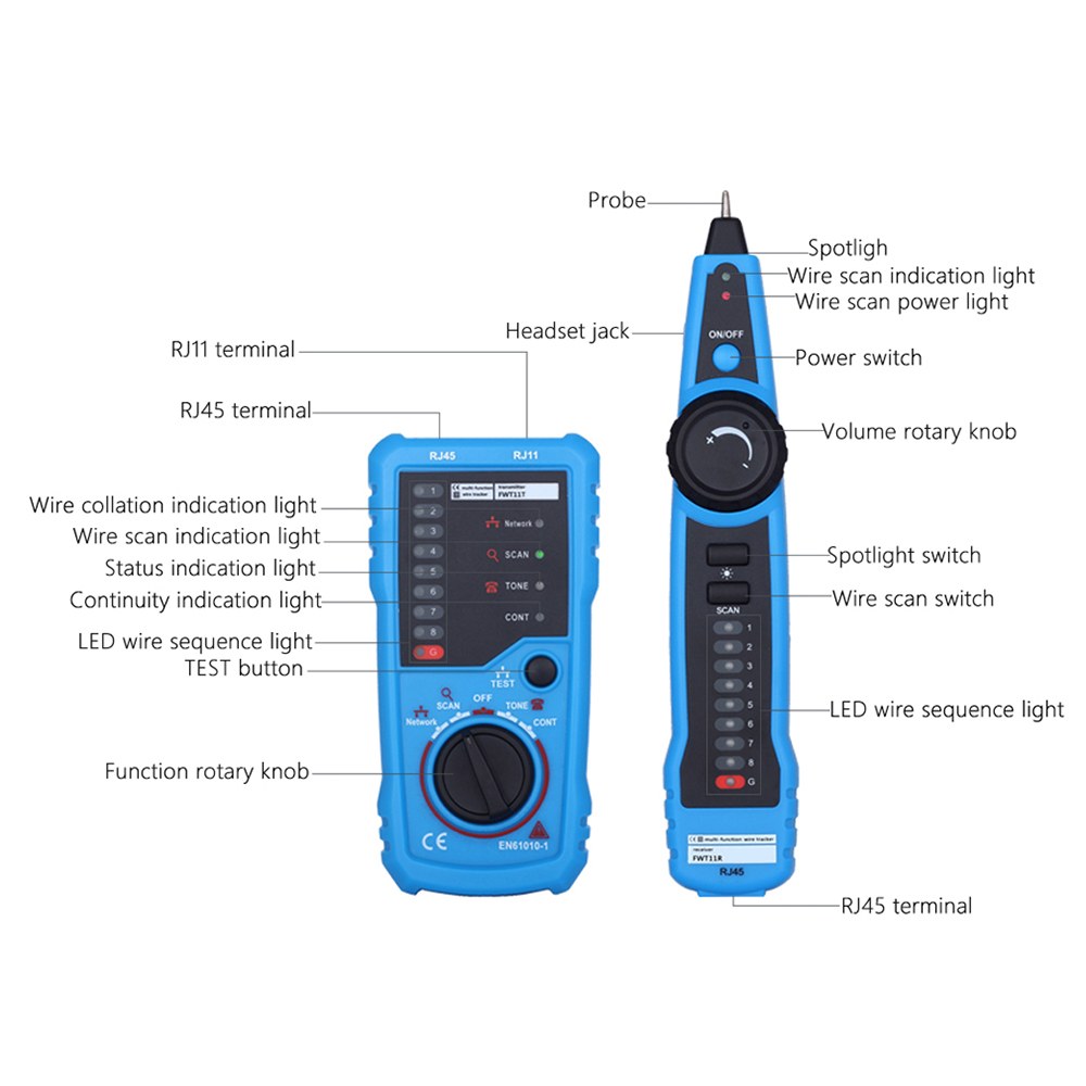 Handheld Multi functional Network Cable Tester RJ45 RJ11 Wire cable ...