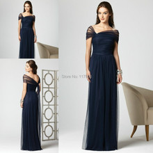 Dark Navy Blue Bridesmaid Dress Cheap Floor Length Long Pleats Tulle Formal Brides maid Dress Women Gown Free Shipping BD210