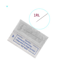 Disposable 50pcs 1RL Tattoo Needles And 1RL Tattoo Tips (Tattoo Caps) For Eyebrow And Lip Permanent Tattoo Makeup