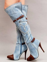 Plus Size 13 Denim Womens Thigh High Boots Pointed Toe Buckle Strap Thin Heels Jeans Ladies Boots for Winter Sexy Overknees Boot sexy black suede thigh high stiletto boot pointed toe bling bling glitter decor thin heels winter boots for women ladies boot
