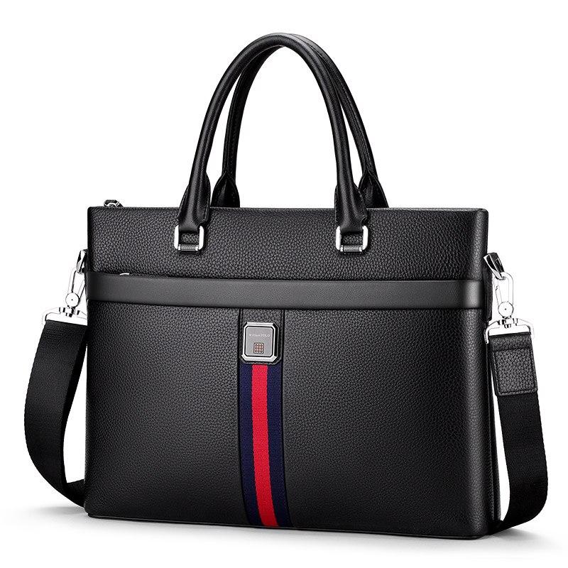 Willioampolo ขายแฟชั่นที่มีชื่อเสียงยี่ห้อผู้ชายกระเป๋าเอกสารกระเป๋าหนังกระเป๋าแล็ปท็อปกระเป๋า Casual ไหล่กระเป๋า 193038-ใน กระเป๋าหูหิ้วด้านบน จาก สัมภาระและกระเป๋า บน   1