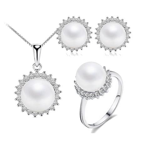 Melhor qualidade óculos de sol da moda mulheres jóias de prata conjuntos de jóias de pérolas elegante 10-11mm de alto brilho com caixa de presente branco/rosa/roxo