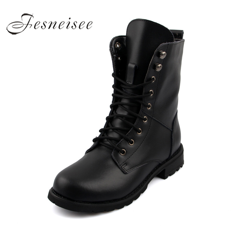 2017 New Winter Woman Boots Martin boots Genuine Leather Round Toe High Heels Rain Boots Women Ankle Shoes Plus Size 34-44 M4.0 high quality genuine leather square heels martin boots for women round toe platform winter rhinestone snow martin boots