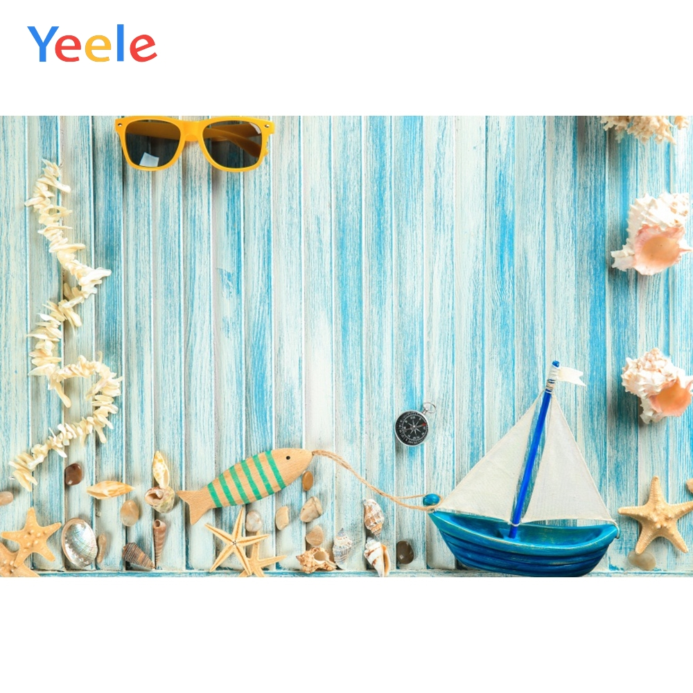 Yeele Summer Party Photocall Fade Wood Shells Boat Photography Backdrops Personalized Photographic Backgrounds For Photo Studio