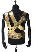Редкие MJ Майкл Джексон Jam ремень Для мужчин 24 К золото Цвет Металл 3 Бретели для нижнего белья и пуля Панк Пояс точно коллекция производитель