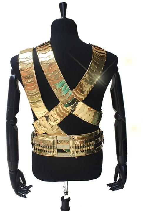 Rare MJ Michael Jackson JAM Belt Men 24k Gold Color Metal 3 Straps & Bullet Punk Belt Exactly Collection Performance Show Gift