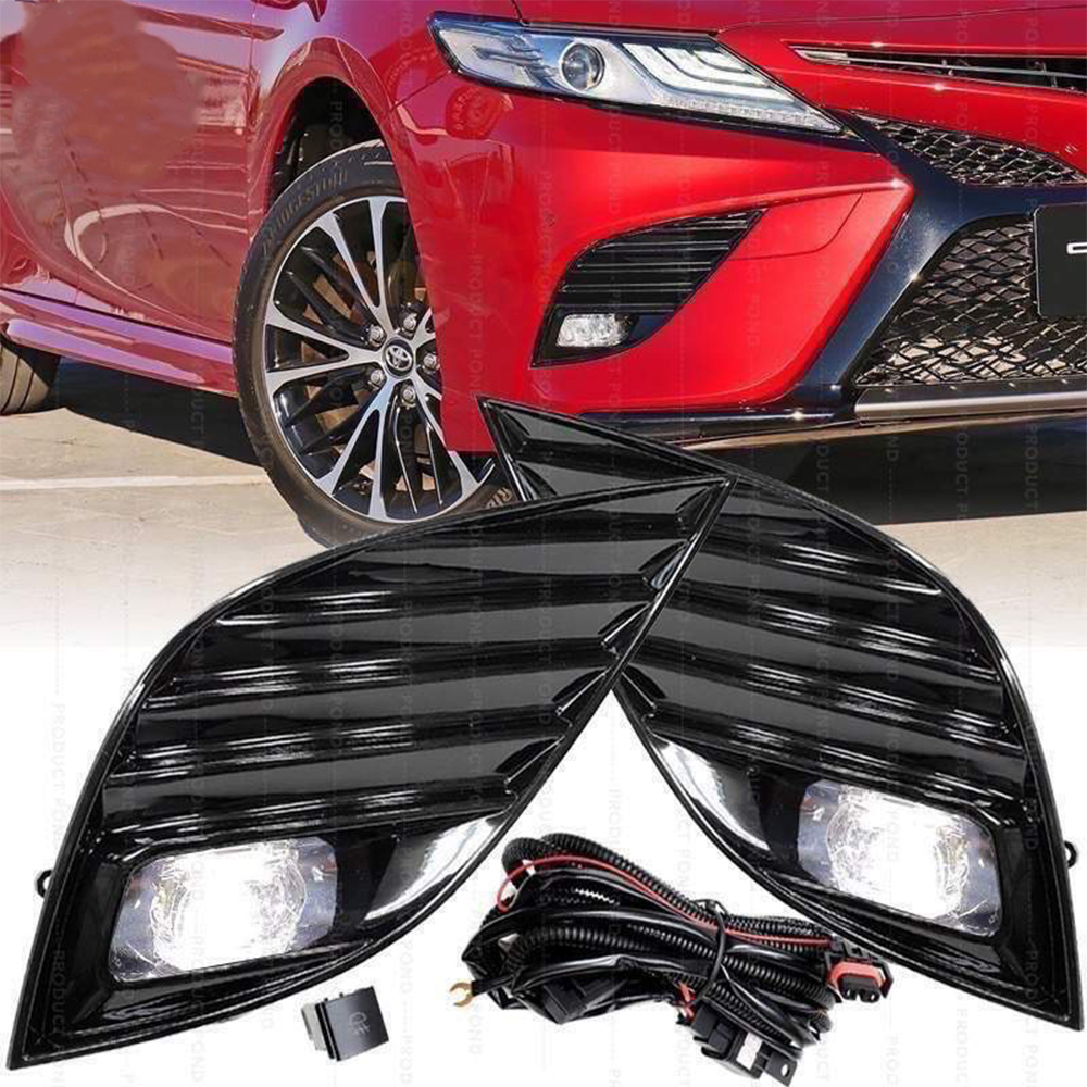 Front Bumper Fog Light Assembly With Built-In LED Bulbs Wire Harness Switch Relay For Toyota Camry SE XSE 2018 2019Front Bumper Fog Light Assembly With Built-In LED Bulbs Wire Harness Switch Relay For Toyota Camry SE XSE 2018 2019