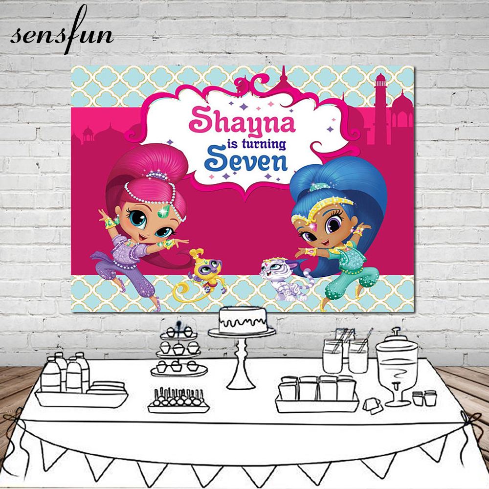 Sensfun Shimmer and Shine Photography Backdrop For Girls Custom Birthday Party Backgrounds For Photo Studio 7x5FT Vinyl siku модель машины с прицепом и спортивной машиной 2544