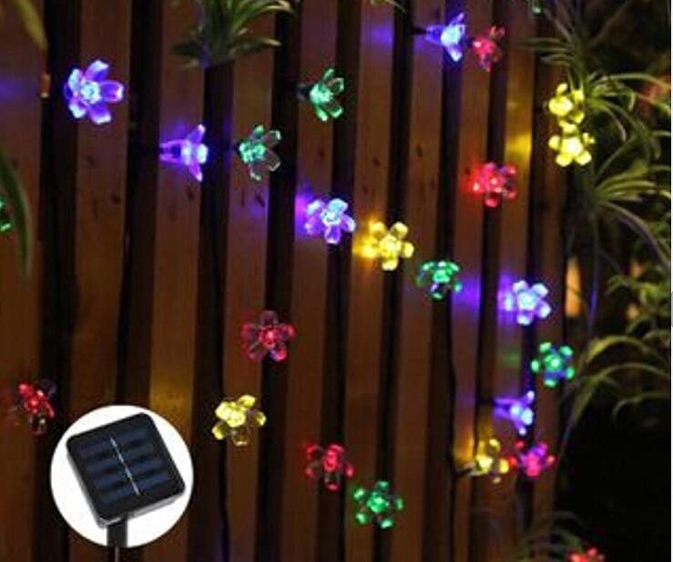7M 50LEDS Peach Flower Solar Outdoor light Led garden Super Bright Led Christmas Lighting Lamps Solar Led String Lights