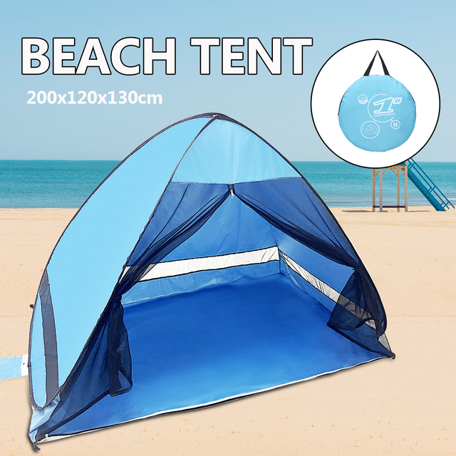 Portable Beach Tent Blue Open Anti Uv Automatic Pop Up Sun