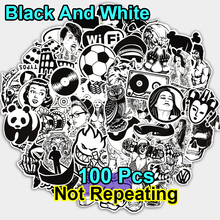 New 100 PCS Black and White Sticker Skateboard Graffiti Decal Toy Laptop Bicycle Motorcyle Car Stying