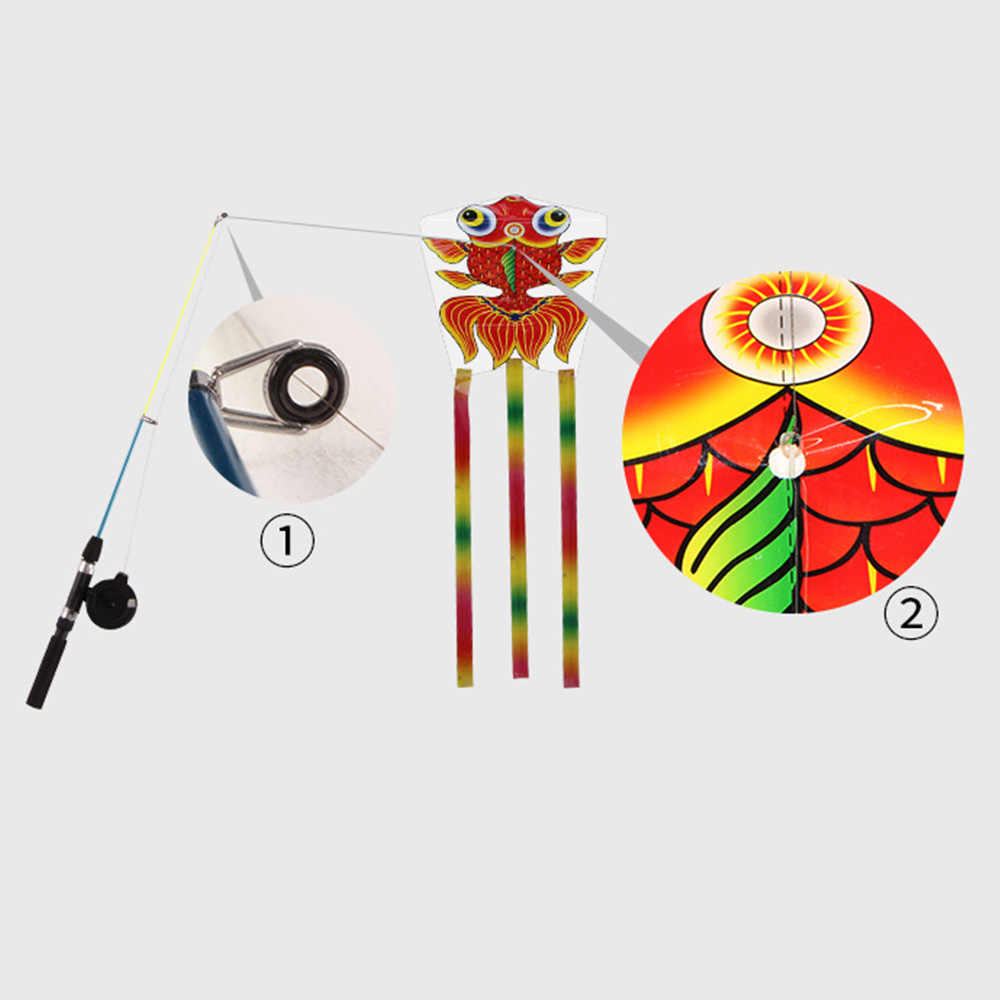 Vara de pesca Pipa Borboleta Dos Desenhos Animados Peixe Cauda Longa Nylon Ao Ar Livre Voando Brinquedo para Crianças Crianças Stunt Kite Surf Barra de Controle linha