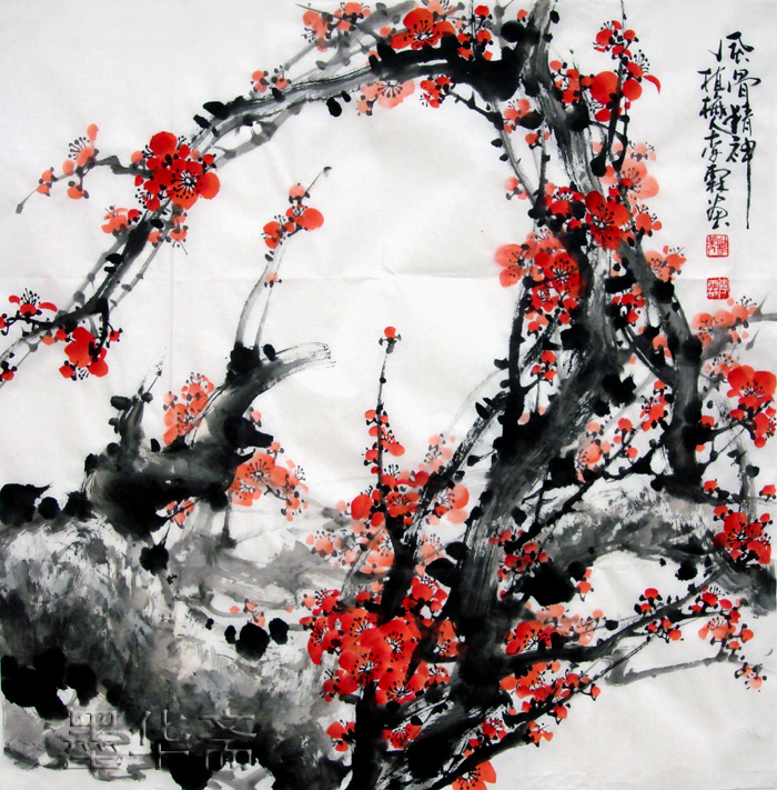 oriental asianoriginalpaintinginkbrushdecorativechineseplumpaintinghandpaintedabstract flowersparlourpainting, Beautiful flower
