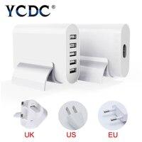 YCDC Dla Kamery MP3 iPhone Samsung iPad Biuro/Ładowarka Podróżna Główna Gniazdo Ścienne Zasilacz 5 Porty USB Hub UK/US/UE Wtyczka