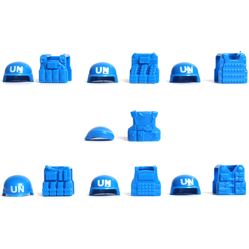 7pcs helmet and Beret UN Bulletproof Vest Weapons Pack Military Series Army lepin Arms For City Police Blocks Toys