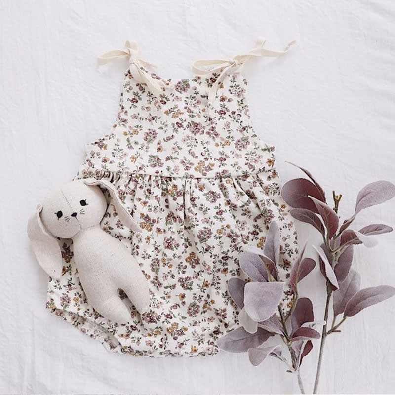 2019 Fashion Summer Sleeveless Baby Girl Lace Up Floral Rompers Cute Print O-neck Newborn Infant Girls Sunsuits Clothes For 0-2T