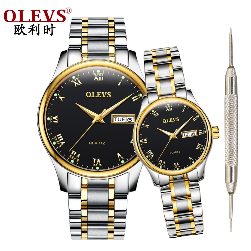 OLEVS Couple Watch Stainless Steel Women Watches Men Uhr Reloje Mujer Montre Femme Waterproof Quartz Wristwatch Erkek Kol Saati