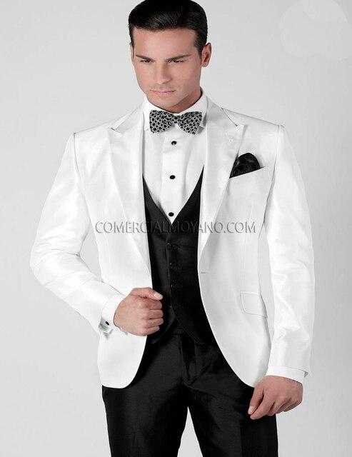 Customized White Mens Wedding Suits Jacket+Pants+Vest Italian Suit ...