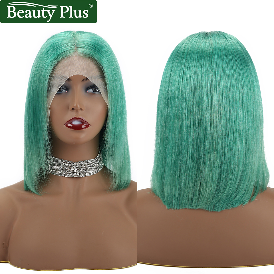 Beauty Plus Short Human Hair Wigs Blue Bob Lace Front Wigs 4x4 Inches Brazilian Wig Straight Pre Plucked With Baby Hair Remy in Lace Front Wigs from Hair Extensions Wigs
