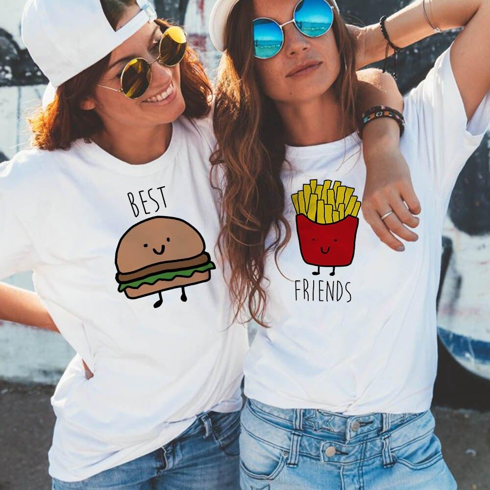 Забавный дизайн, лучший друг, подходящая футболка, футболка BFF, женская футболка с фаст фуд для женщин, хлопковые топы, футболки, гамбургер и фри