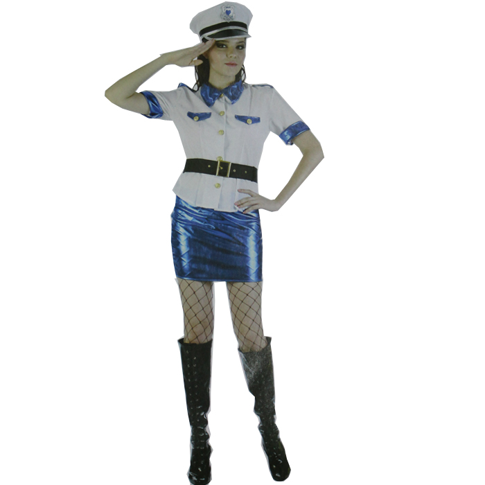 FREE SHIPPING!!Hot Sexy Naughty Policeman Officer Halloween Costume Cop Cosplay Dresses for Women