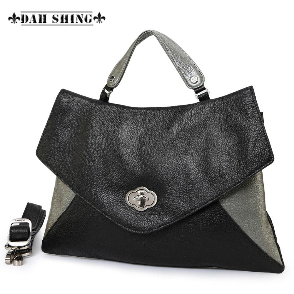 Mode couleur contraste 100% véritable cuir grainé femmes sac à main enveloppe sac épaule Messenger sac