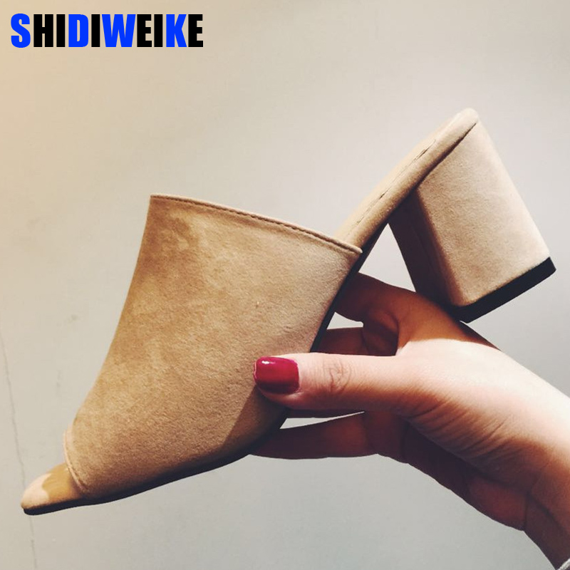 2018 Fashion Peep Toe Chunky Thick Heel Flock Mules Slippers Women