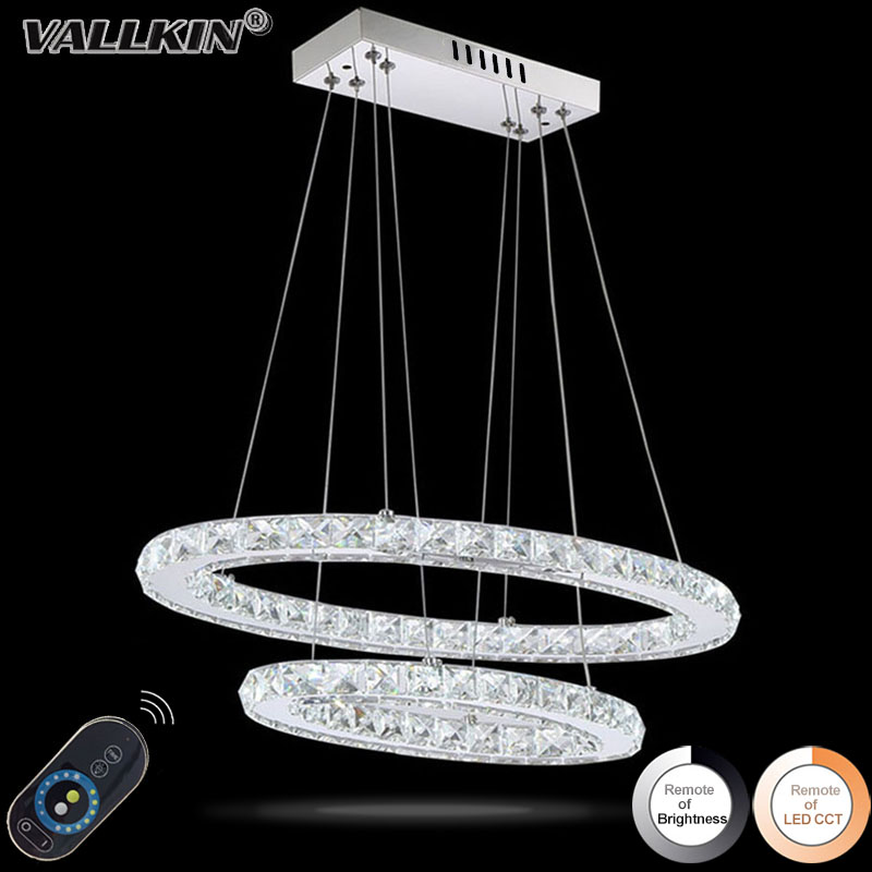 Dimmable LED Crystal Oval Pendant Lights Lamps Fixtures Crystalline Light 2 Ring Indoor Cristal Lighting Modern Lustre Lamps dimmable pendant lights led crystal lighting hanging lamps indoor home light with remote control for hallway indoor home deco