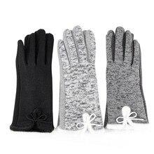 1 пара, женские зимние перчатки из хлопка и шерсти, элегантные теплые плюшевые перчатки с бантом для экрана, рукавицы из кашемира, перчатки, бренд, высокое качество