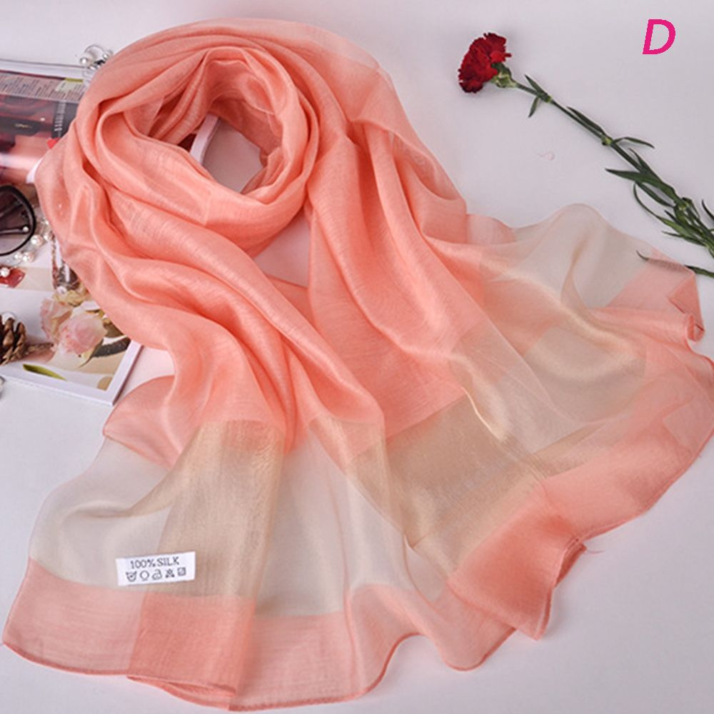 10 Colors Simple Style Winter Silk Scarves Organza Silk Long Scarf Luxury Shawls For Women Lady Girl