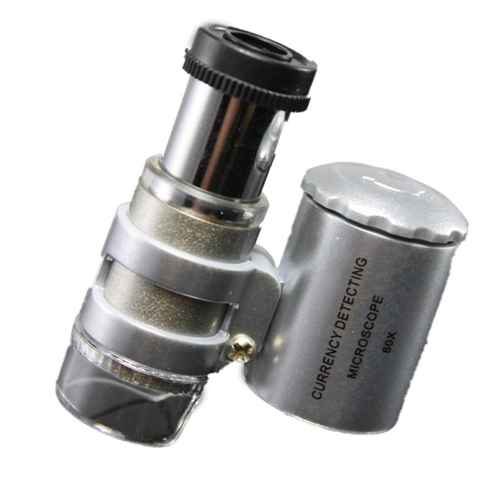 Wincal Microscopio Pocket-Mini 60x Microscopio de Bolsillo LED UV Lupa de joyer/ía Lupa de Vidrio