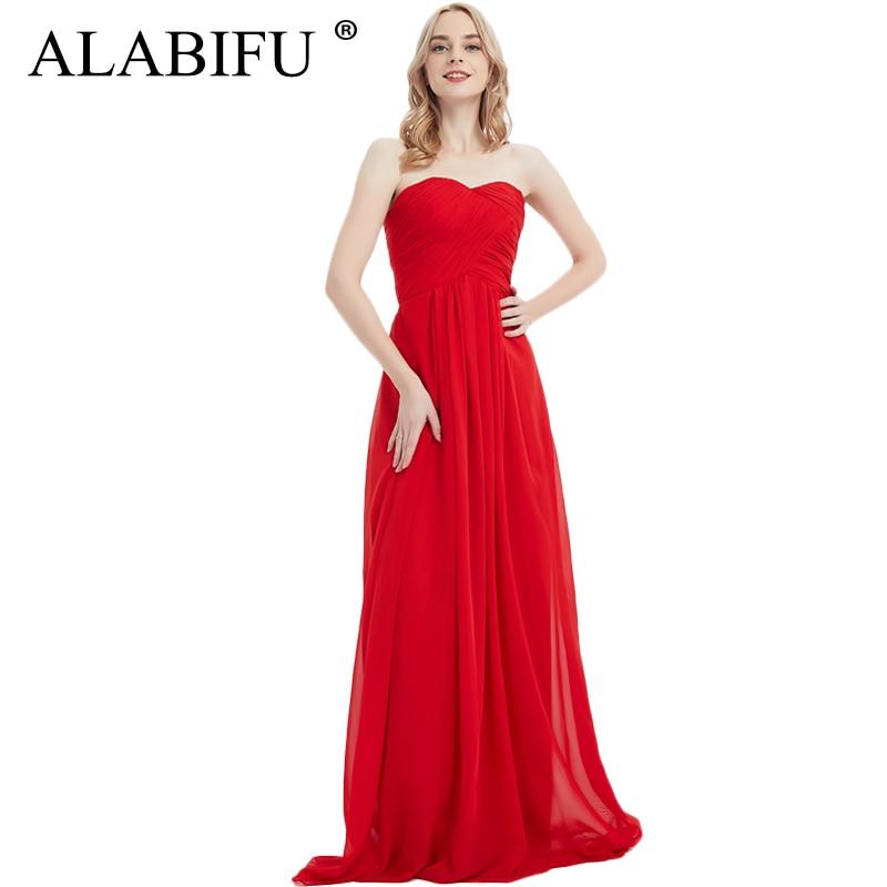 ALABIFU 20 couleurs femmes robe d'été 2019 décontracté Sexy élégant en mousseline de soie demoiselle d'honneur de mariage longue robe de soirée sans bretelles Maxi robes
